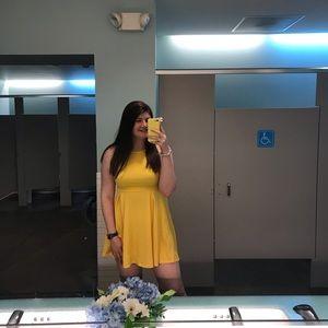 Romwe Yellow Scalloped Dress